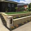 Versawall Raised Garden Wall - Versawall Bondi Blend & Splitface Cap - Letterbox Ledge Stone Travertine
