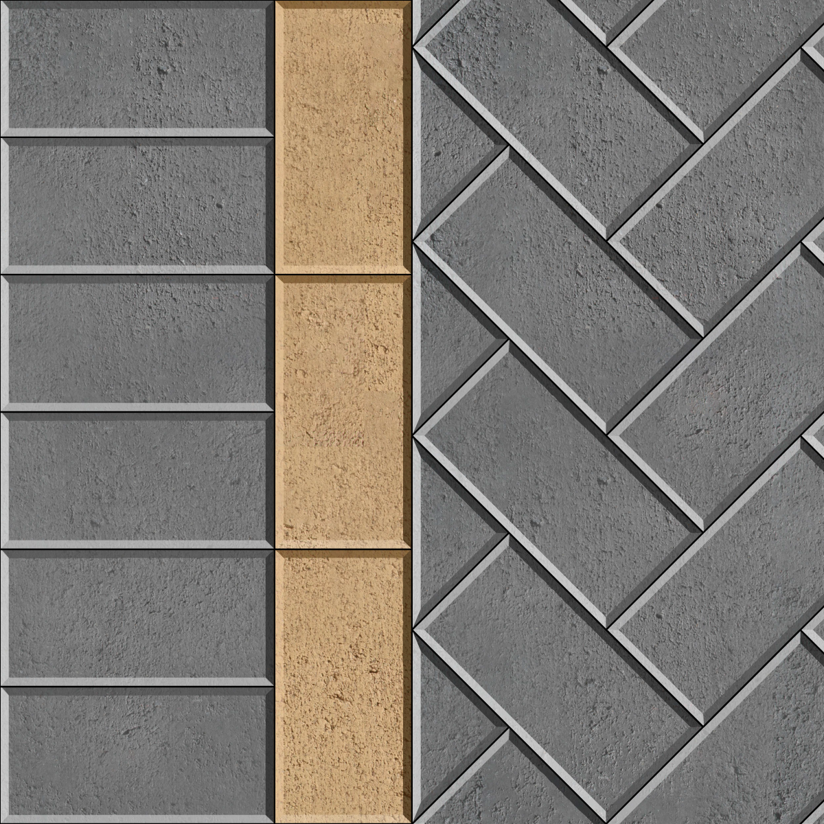 45 Herringbone with contrasting stretcher inlay and header brick paver