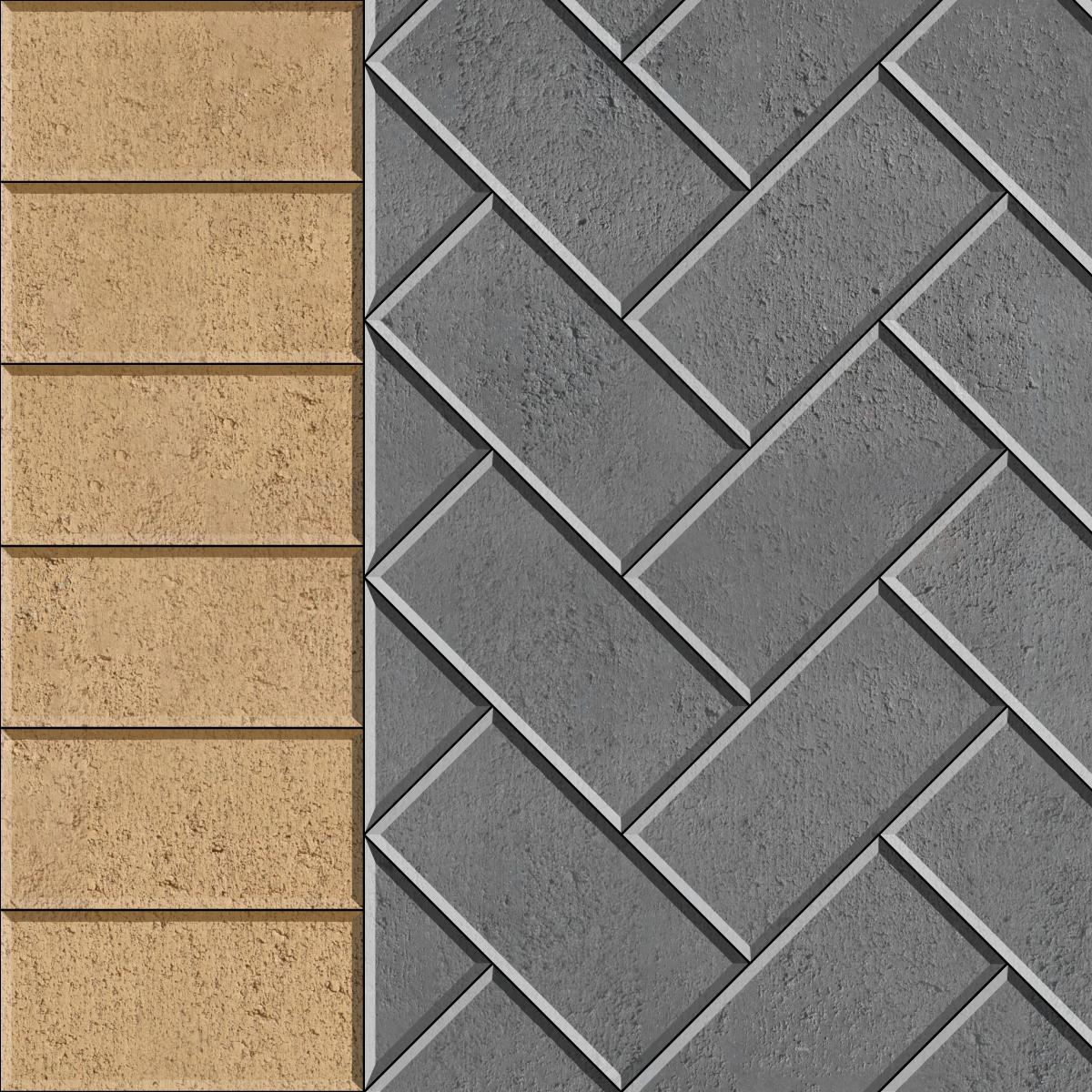 45 Herringbone with header course brick paver